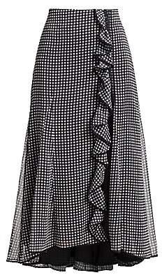 Jonathan Simkhai Women's Gingham Ruffle Side Slit Maxi Skirt