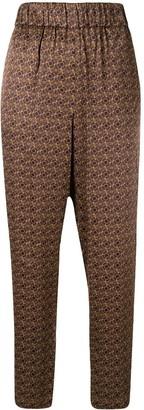 Raquel Allegra Geometric-Print Cropped Trousers