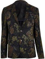 River Island MensGrey print skinny fit blazer
