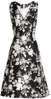 Oscar de la Renta Rosebush-print sleeveless silk-blend dress