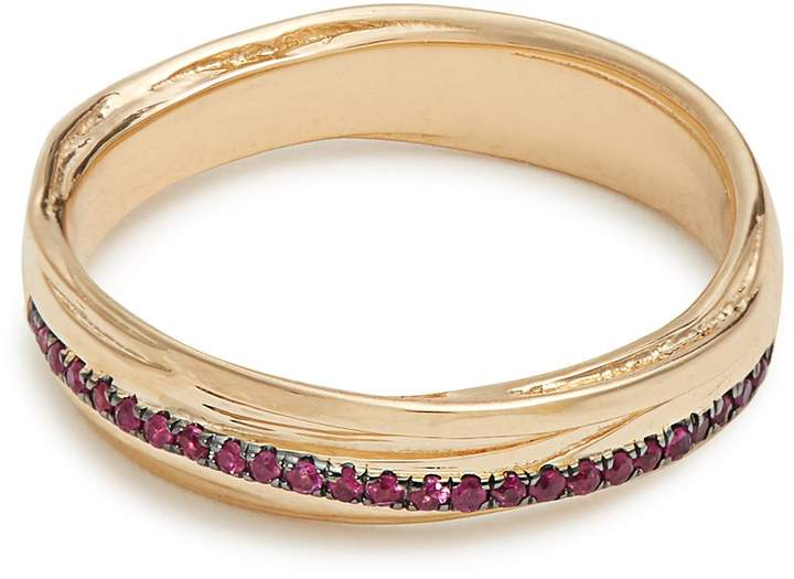Alison Lou Ruby & yellow-gold Fettucine ring