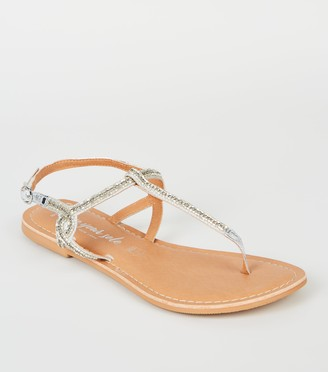 New Look Wide Fit Diamante Bead Sandals