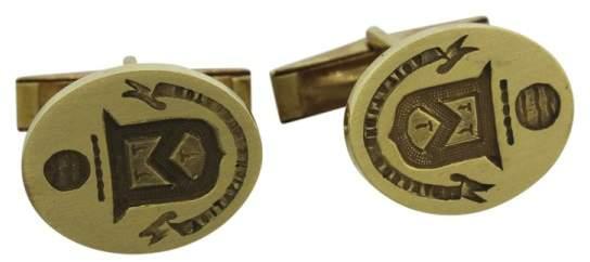 Cartier 18K Yellow Gold Engraved Crest Cufflinks