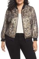 Vince Camuto Plus Size Women's Gold Foil Bomber Jacket