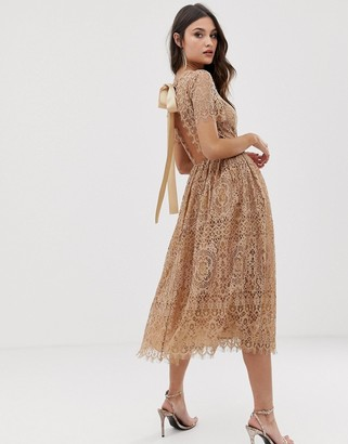 Asos Design DESIGN lace midi dress with ribbon tie and open back-Beige