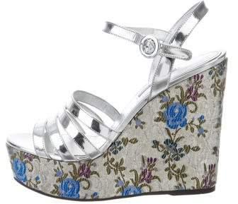 Prada Carpretto Tapestrie Wedge Sandals w/ Tags