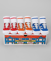 Dimples Red & Blue Sneaker Three-Pair Socks Set
