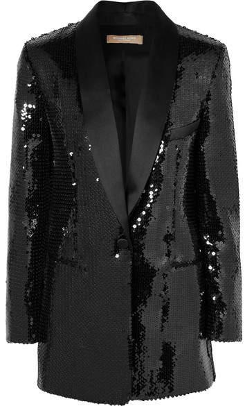 Michael Kors Silk Satin-trimmed Sequined Crepe Tuxedo Jacket - Black