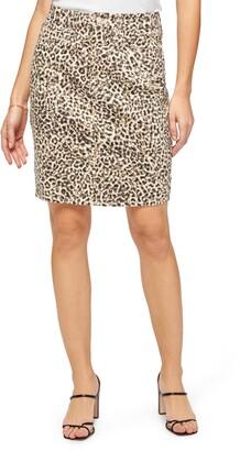 Jen7 Leopard Print Pencil Skirt