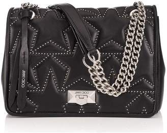 Jimmy Choo HELIA SHOULDER BAG Black Nappa Shoulder Bag with Studs and Silver Chain Strap
