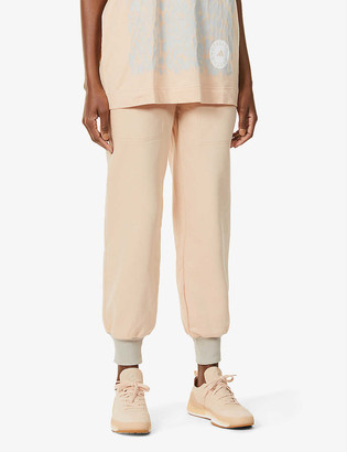 adidas by Stella McCartney Logo-print high-rise cotton and recycled-polyester blend jogging bottoms