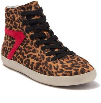 Steve Madden Bumping Leopard Accent Lace-Up High Top Sneaker