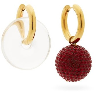 Timeless Pearly Mismatched 24kt Gold-plated Hoop Earrings - Red Multi