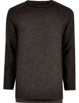 River Island MensDark grey textured crew neck sweater