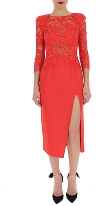 Elisabetta Franchi Lace Midi Fitted Dress