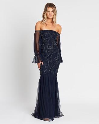 Raishma Off-the-Shoulder Sheer Sleeve Dress