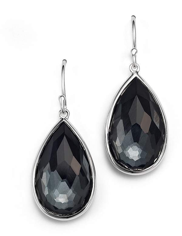 Ippolita Sterling Silver Rock Candy® Medium Pear Wire Earrings in Clear Quartz and Hematite