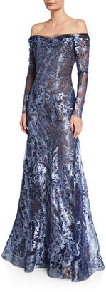 Rene Ruiz Collection Metallic Lace Off-the-Shoulder Long-Sleeve A-Line Gown