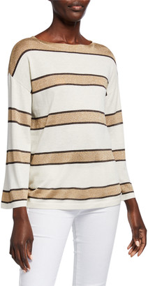 Neiman Marcus Superfine Cashmere Metallic Striped Boat-Neck Pullover Sweater
