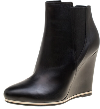 Le Silla Black Leather Wedge Heel Ankle Boots Size 39