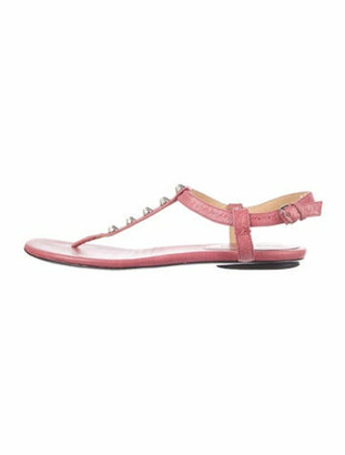 Balenciaga Arena Leather T-Strap Sandals Pink
