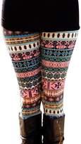 NORAME Women Boho Floral Leggings Christmas Snowflake Stocking Pants (M, )