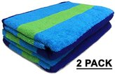 Ringspun Cotton Craft Jacquard Double Woven Velour Beach Towel, 39 x 68-Inch, Cabana Stripe Navy Green Turquoise, 2 Pack