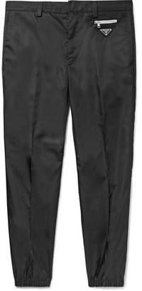 Prada Black Slim-Fit Tapered Logo-Appliqued Nylon Trousers