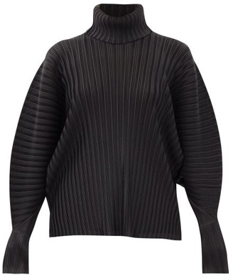 Pleats Please Issey Miyake Roll-neck Dolman-sleeve Technical-pleated Top - Black