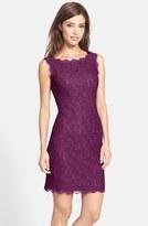 Adrianna Papell Boatneck Lace Sheath Dress (Regular & Petite)