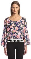 Romeo & Juliet Couture Women's Long Sleeve Woven Top