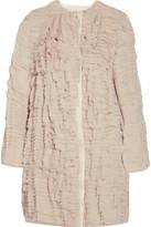Silk-crepe ruffle coat