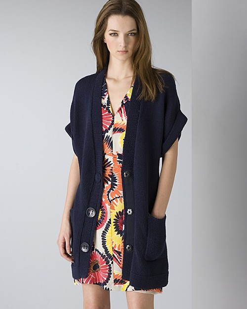 "Trina Turk Women's Chunky Short Sleeve V-Neck Cardigan and ""Sunny Flower"" Silk Georgette Montego Dress"