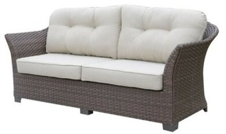 Charlton Home Mcevoy Patio Sofa with Cushions Cushion Color: White, Frame Color: Brown
