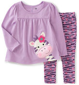 Kids Headquarters Baby Girls Two-Piece Glitter Tunic and Zebra-Striped Leggings Set