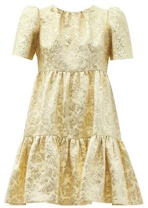 Dolce & Gabbana Tiered Brocade Mini Dress - Yellow Gold