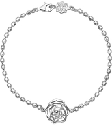 Dower & Hall Wild Rose Flower Charm Chain Bracelet, Silver
