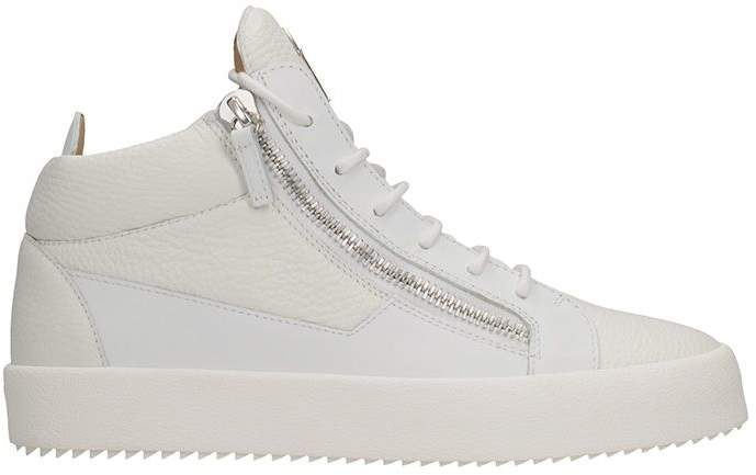 Giuseppe Zanotti Kriss White Leather Mid Sneakers
