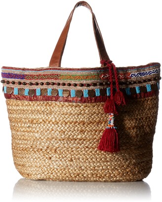 Ale By Alessandra Women's Marrakesh Tribal Hemp Braid Tote With Beading