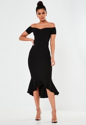 Missguided Tall Black Bardot Fishtail Bodycon Midi Dress