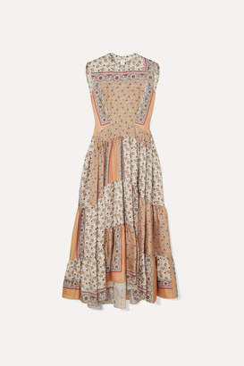 Chloé Printed Silk-twill Maxi Dress - Peach