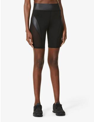 Michi Raven mesh-panel high-rise stretch-jersey shorts
