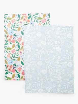John Lewis & Partners Spring Flowers Tea Towels, Pack of 2, White/Multi