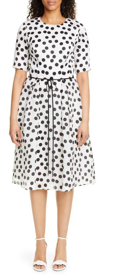 Polka Dot Silk Chiffon Cocktail Dress