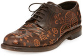 Valentino Santeria Etched Lace-Up Shoe, Brown
