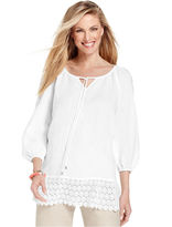 Charter Club Top, Three-Quarter-Sleeve Lace-Trim Linen Tunic