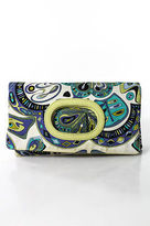 Emilio Pucci Multi-Color Leather Abstract Fold Over Clutch Handbag