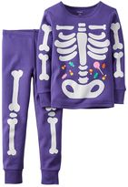 Carter's Toddler Girl Halloween Glow-In-The-Dark Bones Tee & Pants Pajama Set
