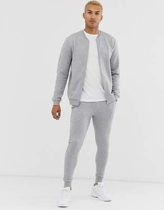 Design DESIGN tracksuit with bomber jacket in grey marl