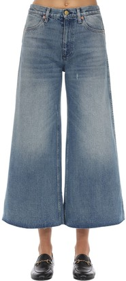 Gucci Wide Leg Washed Cotton Denim Jeans